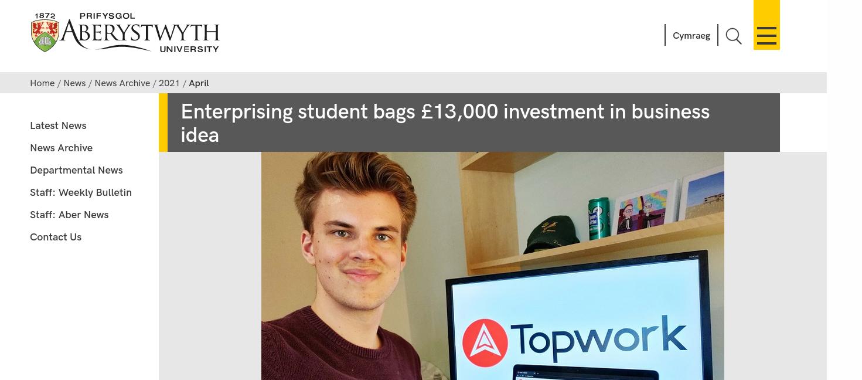 Aberystwyth University 2021 InvEnterPrize winner Karl Swanepoel with Topwork