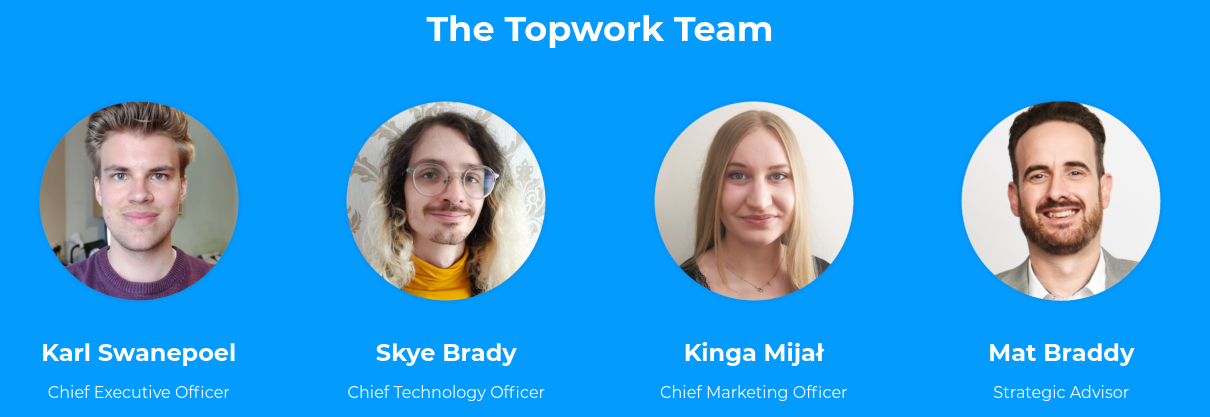 The Topwork team, including Karl Swanepoel, Skye Brady, Kinga Mijal, and Mat Braddy.